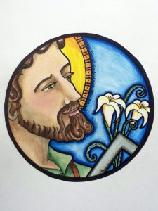 St Joseph - original painting by Ruth Green 2013