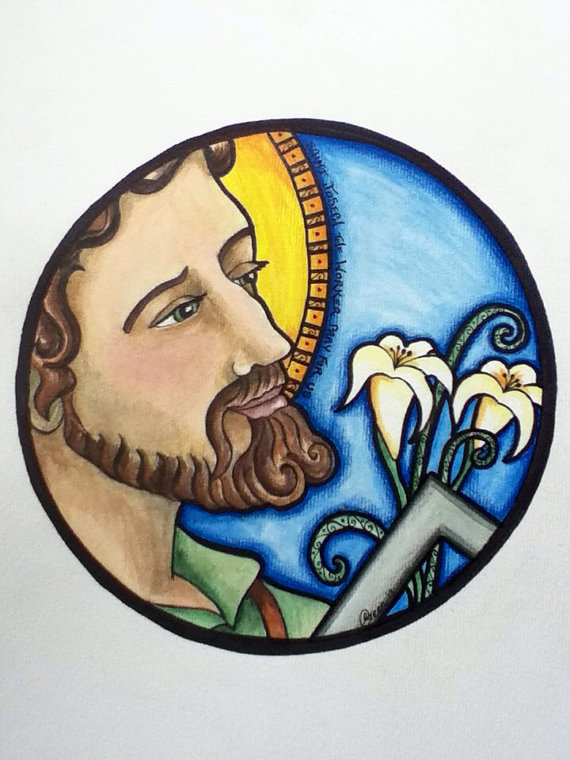 St Joseph - original painting by Ruth Green 2013